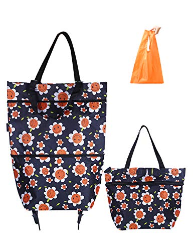 Collapsible Trolley Bags Folding Shopping Bag with Wheels Reusable Grocery Bags Fashion Rolling Shopper Tote - lightweight Capability with Durability, Heavy Duty Beefy Wheels (Orange + Black)