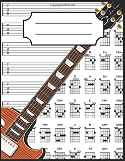 Guitar Tab Notebook: 100+ Guitar Chord and Tablature Writing Paper and Chord Fingering Charts (Best Guitar Writing)