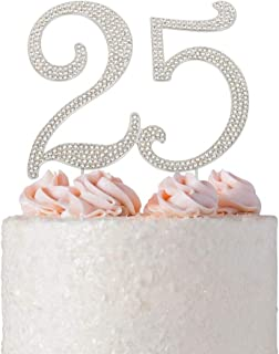 25 Cake Topper | Premium Sparkly Crystal Rhinestones | 25th Birthday or Anniversary Party Decoration Ideas | Quality Metal Alloy | Perfect Keepsake (25 Silver)