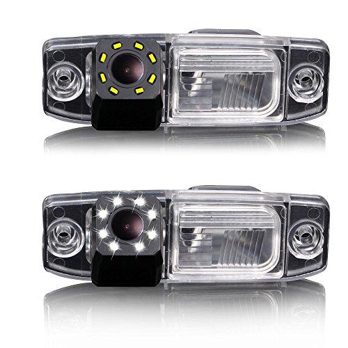 Dynavsal Caméra de recul 8 LED vision nocturne pour voiture - Grand angle 170 ° - Couleur HD - Étanche - Pour Hyundai Tucson Accent Elantra Terracan Veracruz Sonata/Jeep Chrysler 300/300C/SRT8/Magnum