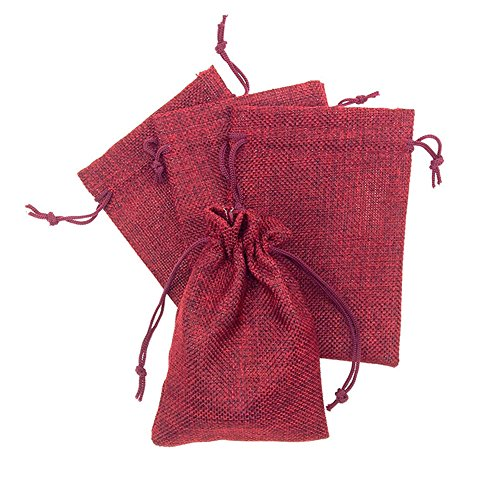 Hangnuo 10 Pack 5 x 7 Inch Burlap Bags with Drawstring for Wedding Birthday Party Favors Gifts Burgundy