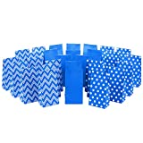Hallmark Blue Party Favor and Wrapped Treat Bags, Assorted Designs (30 Ct., 10 Each of Chevron, White Dots, Solid) for Birthdays, Baby Showers, School Lunches, Hanukkah, Care Packages, May Day