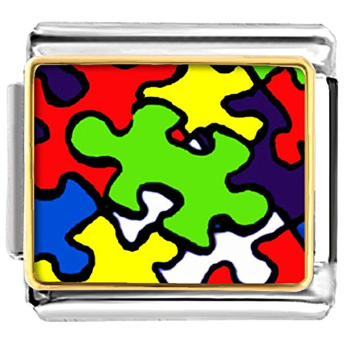 LuckyJewelry Autism Puzzle Awareness Nomination Etched Italian Charm Sale Cheap fit Bracelet Link