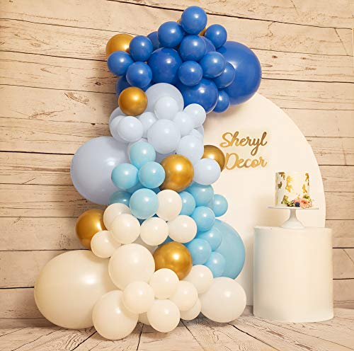 110pc, 3 Size – Blue Balloon Garland Kit & Arch Kit – Small and Large White and Blue Balloons, Baby Blue, Light Blue, Royal Blue and Gold Balloons for Boy Baby Shower, Frozen Birthday Party Decor