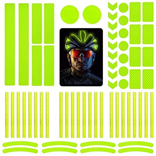 DONQL 64 Stück Reflektoraufkleber Set Reflektoren Aufkleber Sticker Reflektor Fahrrad Reflective Tape Reflexfolie Selbstklebend Reflektierende Aufkleber für Fahrrädern und Helmen (Grün)