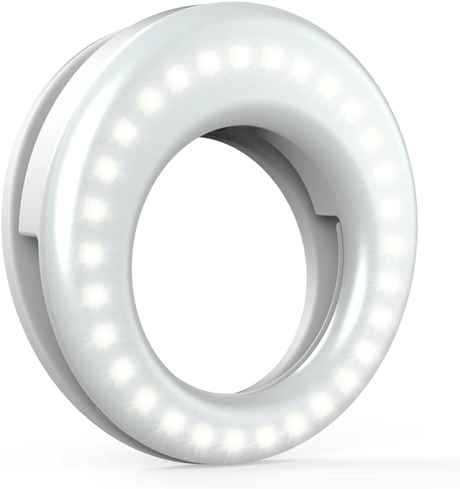 QIAYA Selfie Light Ring - Rechargeable Clip-On LED Circle Light