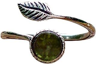 Recycled Vintage Olive Green Wine Bottle Sterling Silver Leaf Botanical Collection Ring