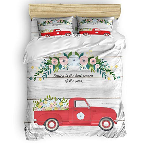 Queen 4 Pcs Duvet Comforter Cover Set for Kids Adults Bedding Sets,Spring is the best season of the year Red Car Wood Grain Bed Sheet Set for Christmas,1 Duvet Cover 1 Flat Sheet and 2 Pillow Cases