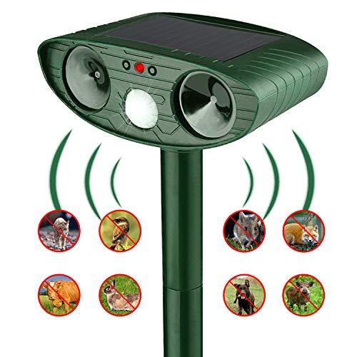 PECHTY Ultraschall Abwehr Tiervertreiber Ultraschall Tier Repeller Katzenschreck Tiervertreiber Tiervertreiber für Garten, zum Vertreiben von Katzen, Hunden, Vögeln, Mardern (Solarenergie, Grün)