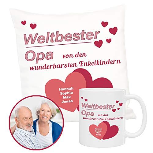 Kussen en mok trotse opa: gepersonaliseerde set van knuffelkussen en mok, cadeau-idee voor verjaardagsdecoratiekussen met naam bedrukt