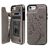 iPhone 8 ケース iPhone 7 ウォレットケース 押し花型 バタフライ レザー スマホケース 多機能カード収納 スタンド 機能ケース 人気 おしゃれ 耐汚れ 衝撃吸収 スマートフォン全面保護カバー グレー