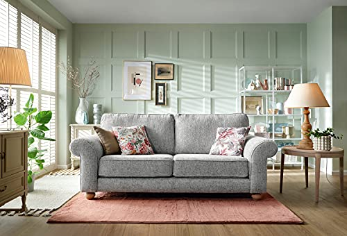 Abakus Direct | Ingrid 3 or 2 Seater Sofa Set, Armchair, Cuddle Chair in Chenille Ash Grey (3 Seater)