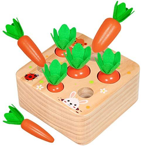 X-LIVE Holzspielzeug ab 1 Jahr   Baby Motorik Spielzeug für 12 Monate Jungen und Mädchen  Holzpuzzle Karottenernte   Lernspielzeug für Kinder als Geburtztag Geschenk
