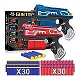 POKONBOY 2 Sets Blaster Toy Guns for Boy, Foam Bullet Toy Gun with 60 PCS Refill Darts for Kids 6+ Year old Boys Gun Games Christmas