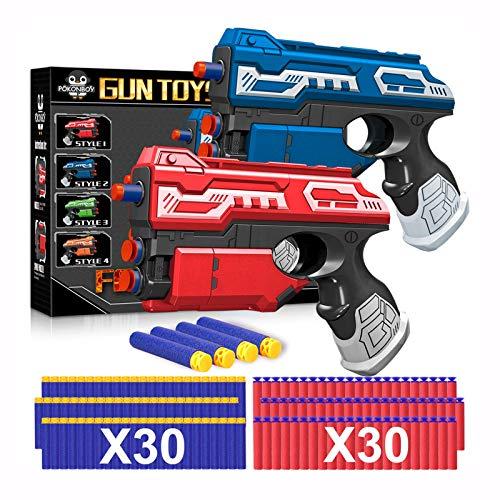 POKONBOY 2 Sets Blaster Toy Guns for Boy, Foam Bullet Toy Gun with 60 PCS Refill Darts for Kids 5 6 7 Year old Boys Gun Games Christmas