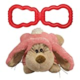 KONG - Tug and Cozie Rabbit - Stretchy Rubber Tug Dog Toy and Plush Cuddle Toy - for Medium Dogs
