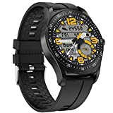 QFSLR Smartwatch Relojes Inteligentes Hombre, Reloj Inteligente con Pulsómetro, Monitor De Presión Arterial Seguimiento del Sueño Control De Música Impermeable IP68,Negro