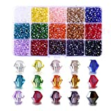 2mm Bicone Beads for Bracelet Making, FANGZHIDI 4500pcs AB Colorful Glass Beads for Suncatchers Jewelry Beading Supplies Handmade Crafts. 15 Color Assortments