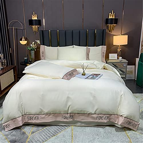 YYSZM Tessuti per La Casa Ricamo Seta Lavata Set di 4 Pezzi Semplice, Morbido E Confortevole 200x230cm