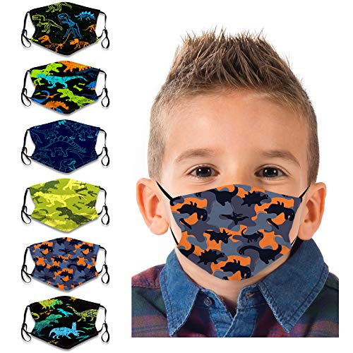 COMMINY 6PCs Kids Face Bandanas Cute Dinosaur Reusable Covering Breathable Washable Dust Protection with Adjustable Earloop for Children