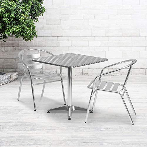 Flash Furniture 27.5'' Square Aluminum Indoor-Outdoor Table Set with 2 Slat Back Chairs