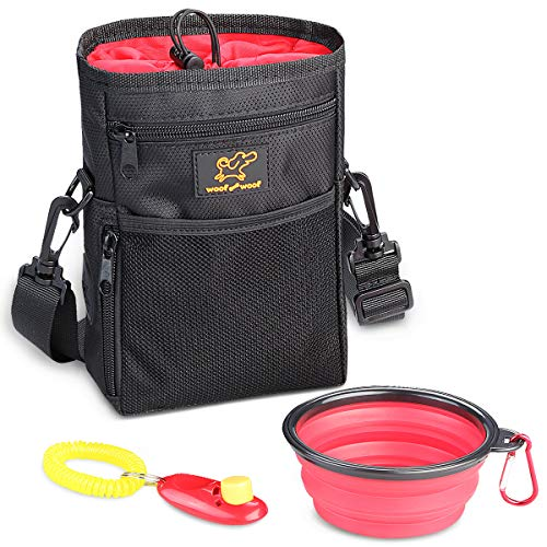 WoofWoof Dog Treat Training Pouch Bag -Collapsible Travel Food Water Dog Bowl - Free Doggie Clicker