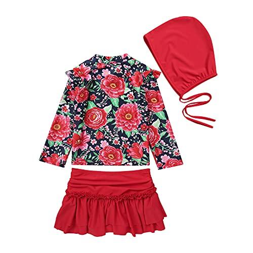 inhzoy Traje de Baño de 3 Piezas para Niñas Bañador Flores de Verano Top con Manga Larga Falda Plisada con Calzoncillos y Sombrero de Playa Rojo 3-4 años