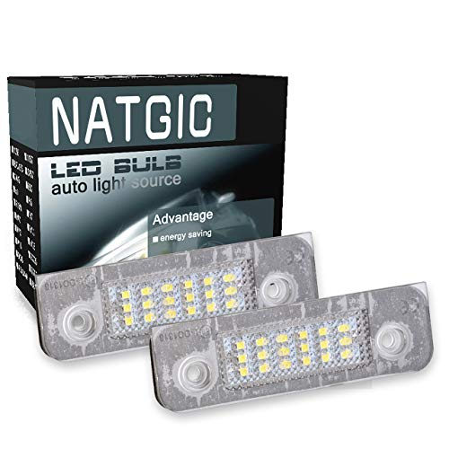 NATGIC 1 Paire 18SMD LED Plaque d'immatriculation Lumière Intégrée Can-Bus étanche Plaque d'immatriculation Lumière LED Numéro Plaque d'immatriculation Lampe Assemblée 12V 1.8W - 6000K Blanc