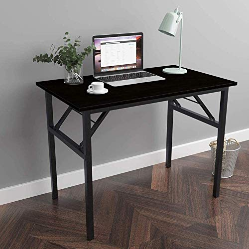 WNN-URG Mesa plegable de escritorio de la computadora PC de escritorio de oficina escritorio de trabajo for la seguridad del uso mesa de trabajo, Mesa de comedor Mesa negociadora, Negro (100 x 60 x 75