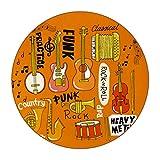 6 piezas de posavasos redondos de microfibra de cuero posavasos Set de posavasos decorativos para tipos de tazas y tazas de instrumentos musicales dibujados a mano Rock Jazz