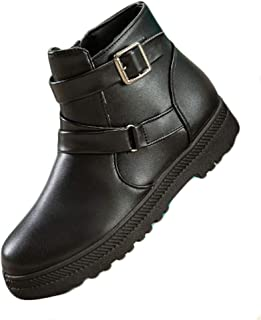 Fulision Female Winter Waterproof Leather Buckle Snow Boots with Zipper