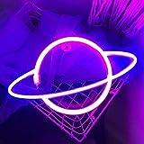 Planet Neon Sign Led Schild - Batterie oder USB Betriebene Leuchtreklamen LED Schilder für Wand Beleuchtung | Neonlichter für Schlafzimmer Wand Kinderzimmer Party Gaming