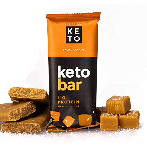 Perfect Keto Bars - The Cleanest Keto Snacks with Collagen and MCT. No Added Sugar, Keto Diet Friendly - 3g Net Carbs, 19g Fat,11g protein - Keto Diet Food Dessert (Salted Caramel, 36 Bars)