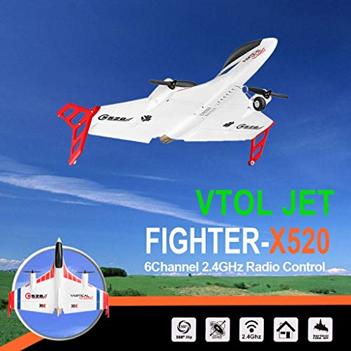 Graysky U.S. Shipping Remote Control VTOL Jet, XK X520 2.4G 6CH RC Vertical Take Off and Land Delta Wing Airplane Brushless DC Motor with Controller (NO Camera Ver) for Aircraft Hobby Adults or Kids