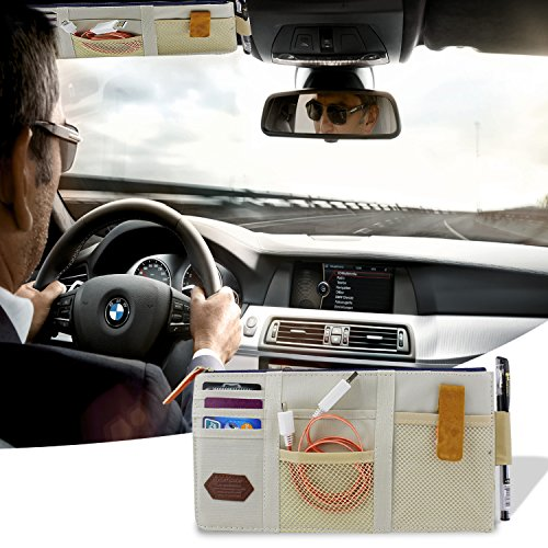 Ocr Multi-purpose Auto Car Visor Organizer Pouch Bag Card Storage Holder or Card/cell phone/pen/sunglass Holder Auto Car Sun Visor 29 X 14cm (Beige)