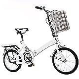 ASPZQ Bicicleta Plegable Portátil Pequeña Y Ultra-Luz Estudiante Bicicleta Mujeres Mujeres College De 20 Pulgadas Generación Adulto,Blanco,16 Inches