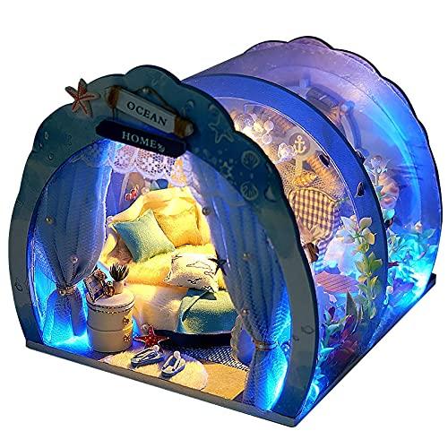 NIKALONG Muebles De Madera Modernos, Mini - Casa De MuñEcas, Casa De MuñEcas DIY, Casa De MuñEcas Hecha A Mano, Sala De Juegos Modelo Creativo, DíA De La Novia (Nido De Aves Submarinas)