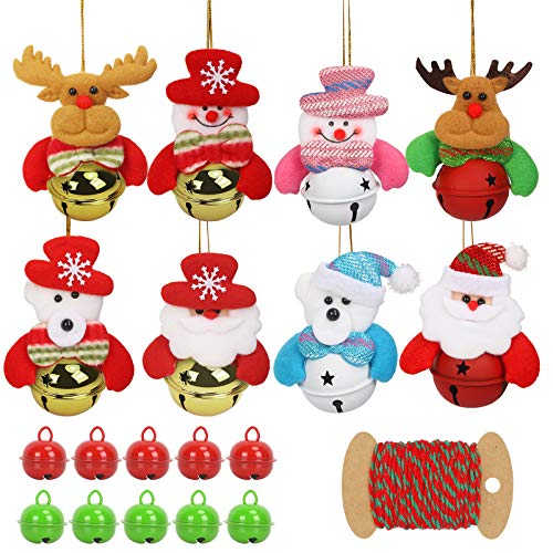 CHALA 18pcs Christmas Ornaments Bells,Metal Xmas Jingle Bell Snowman Elk Bear Santa Claus Pendant with 10m Red&Green Rope for Christmas Tree Door Fireplace Decor (White,Gold,Red,Green)