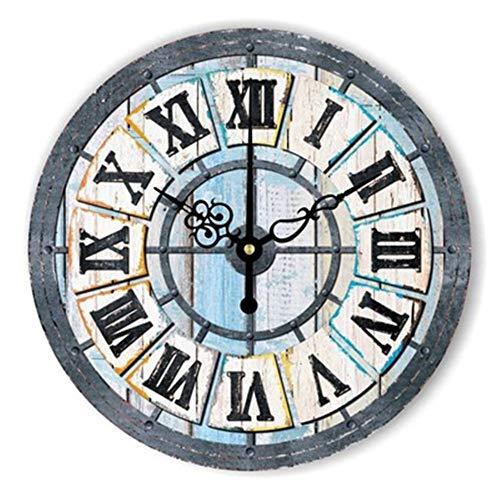 FOOSKOO Wall Clocks Horloge Murale Style rétro Vintage Vintage muet Grande Horloge Murale Montre Shabby Chic Home Decor Salon 16 Pouces / 40 cm (Conception : B)