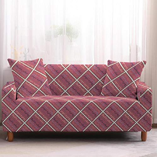Funda de sofá de 2 Plazas Funda Elástica para Sofá Poliéster Suave Sofá Funda sofá Antideslizante Protector Cubierta de Muebles Elástica Patrón de Cuadros Rosa Funda de sofá