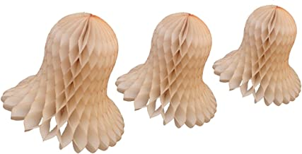 product image for Vintage Ivory - French Vanilla Honeycomb Tissue Bell Decorations, Set of 3 (15 inch, 11 inch, 9 inch)