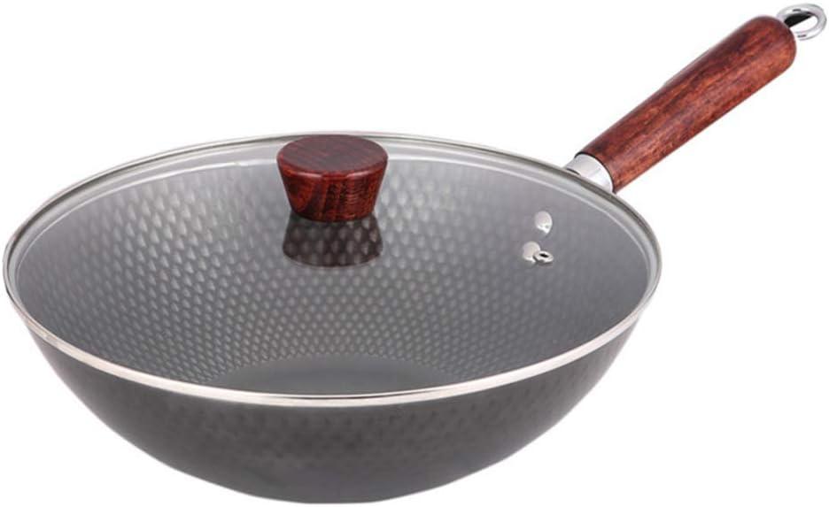 ROYWY Sartén,Wok,Sartén antiadherente con tapa,Con tapa de vidrio templado,30CM, mango anti-quemaduras.Apto para todos los gases, incluida la cocina de inducción, fácil de limpiar sarten peque