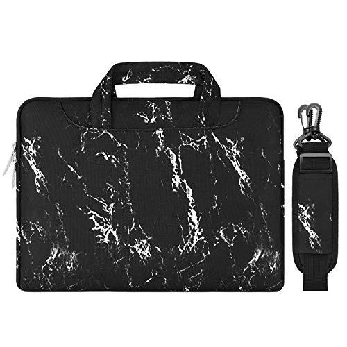 MOSISO Laptoptasche Schultertasche Kompatibel mit 13-13,3 Zoll MacBook Pro, MacBook Air, Notebook Computer, Ultraportable Sleeve Hülle Segeltuch Gewebe Marmor Muster mit Griff und Gurt, Schwarz