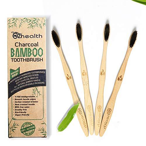Nubeter Cepillos de dientes de bambú | Paquete de 4 | Ecológico | Bl