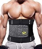 LAZAWG Men Waist Trimmer Hot Neoprene Sweat Belt Workout Waist Trainer Sauna Slimming Belt Weight Loss Gym Fitness