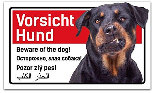 PrimeStick Vorsicht Hund Schild 5-sprachig 25x15cm Rottweiler