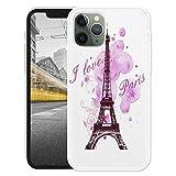 KX-Mobile Hülle für iPhone 11 Handyhülle Motiv 1078 Eifelturm Paris Frankreich Rosa Pink Premium Silikonhülle SchutzHülle Softcase HandyCover Handyhülle für iPhone 11 Hülle