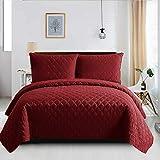 B&B Couvre-lit matelassé 3 pièces super king size (couvre-lit + 2 taies d'oreiller), housse de couette décorative chaude super douce Rouge