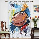 Rideaux de sport en forme de ballon de rugby avec dessins colorés, panneaux à œillets imprimés, panneau simple 132 x 160 cm, pour chambre à coucher Multicolore