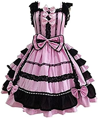 Smiling Angel Girls Sweet Lolita Dress Princess Lace Court Skirts Cosplay Costumes Pink Black product image